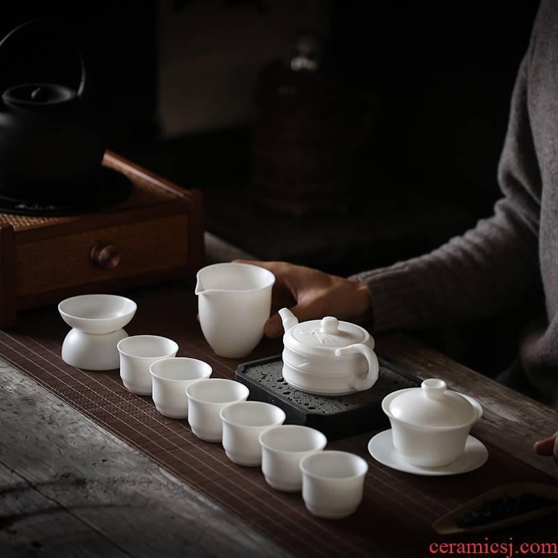 Dehua biscuit firing suet white jade jade porcelain kung fu tea set suit suet jade tureen cup teapot suit household