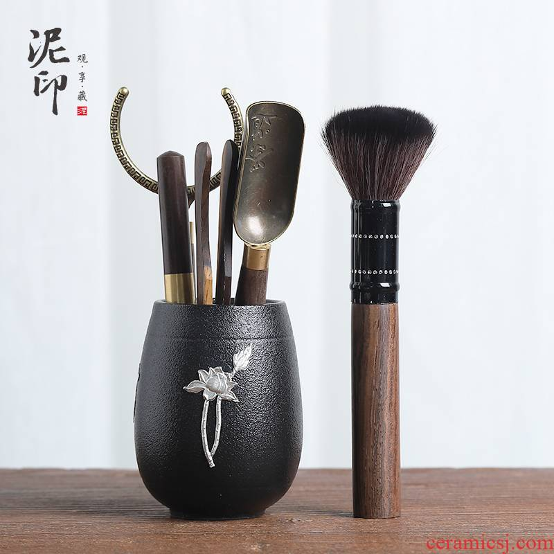 Black pottery mud seal tin tea six gentleman 's suit kung fu tea tea accessories of zero sum of ChaGa teaspoons ChaZhen