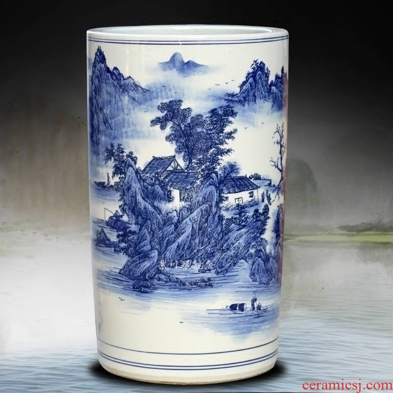 Blue and white porcelain of jingdezhen ceramics and floor quiver calligraphy and painting cylinder barrel sitting room place study of calligraphy and painting decoration