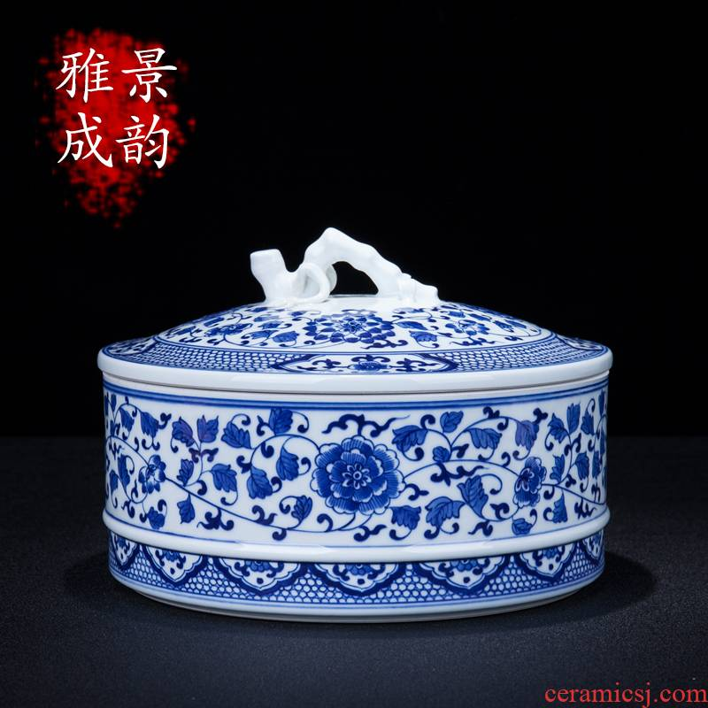 Blue and white porcelain of jingdezhen ceramics bound lotus flower storage tank large household caddy fixings POTS decoration furnishing articles