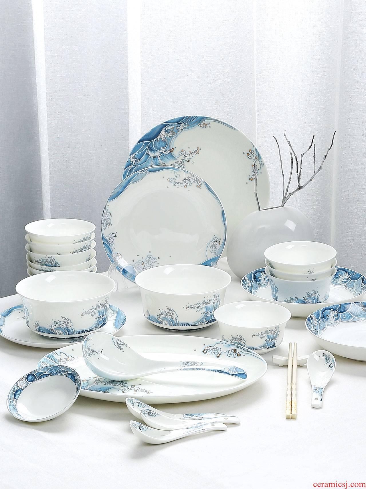 Blue and white porcelain ceramic bowl chopsticks dishes suit household of Chinese style suits for the jingdezhen ceramic tableware bowl dish wind