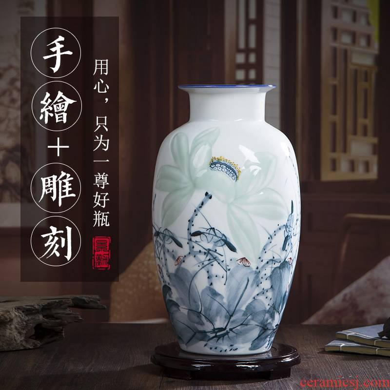 Jingdezhen ceramic vase furnishing articles sitting room hand lotus flower arranging flower implement China modern Chinese style decoration