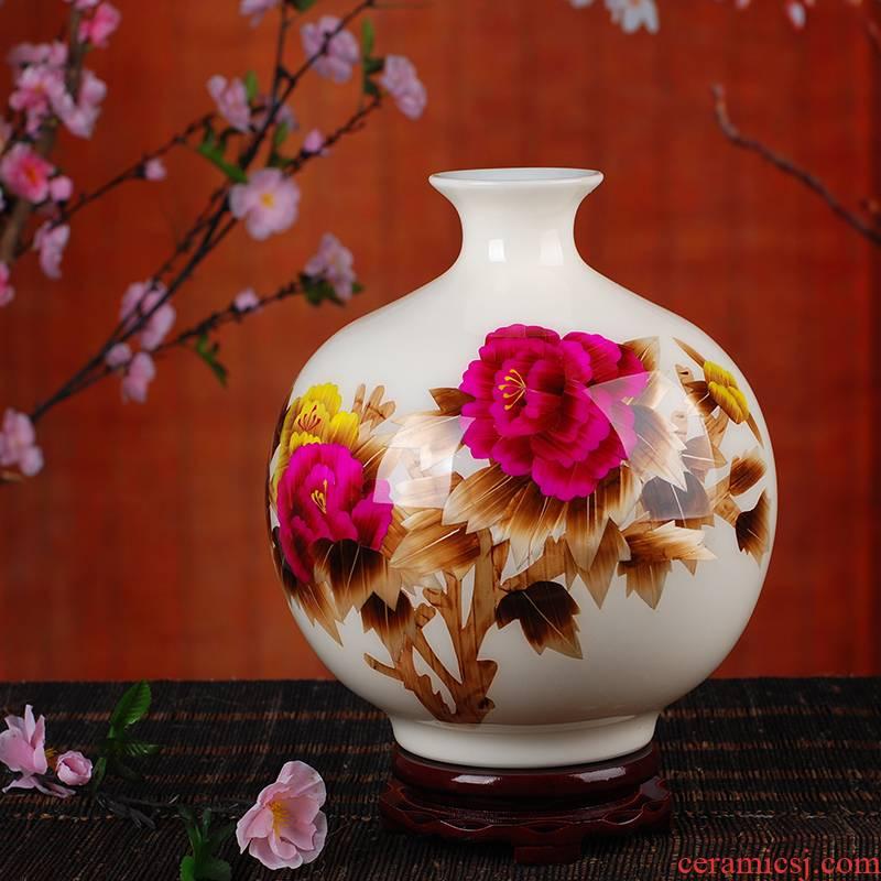 Jingdezhen ceramic vase landing 138 modern Chinese red peony straw vase home furnishing articles sitting room
