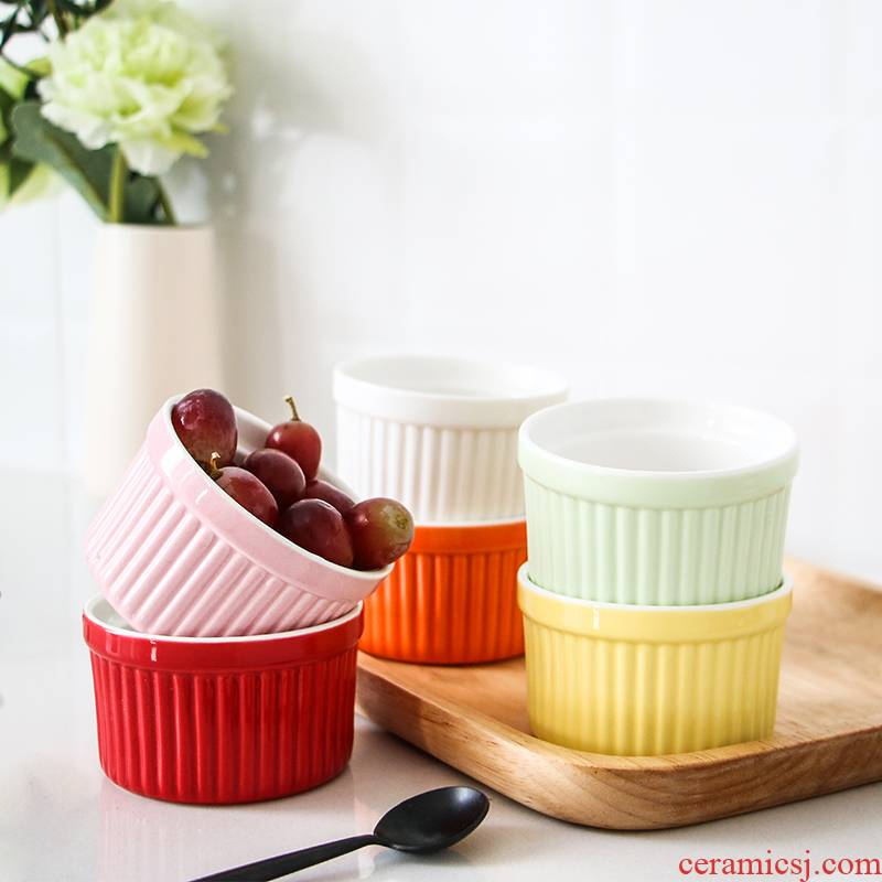 Jingdezhen shu she bake to use baking cake mould jelly ice cream dessert pudding ceramic bowl stripe cup