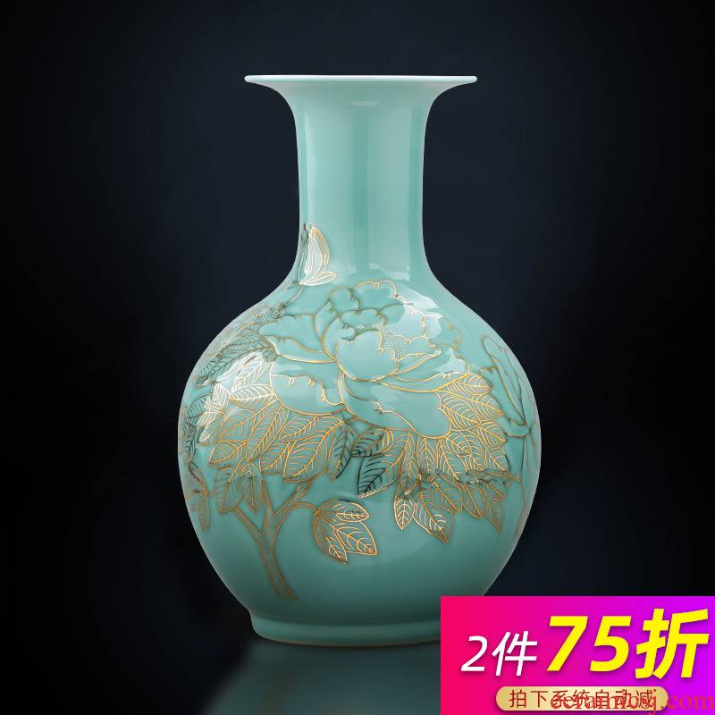 Jingdezhen ceramics masters hand light green glair see vases, new Chinese style key-2 luxury home sitting room adornment is placed