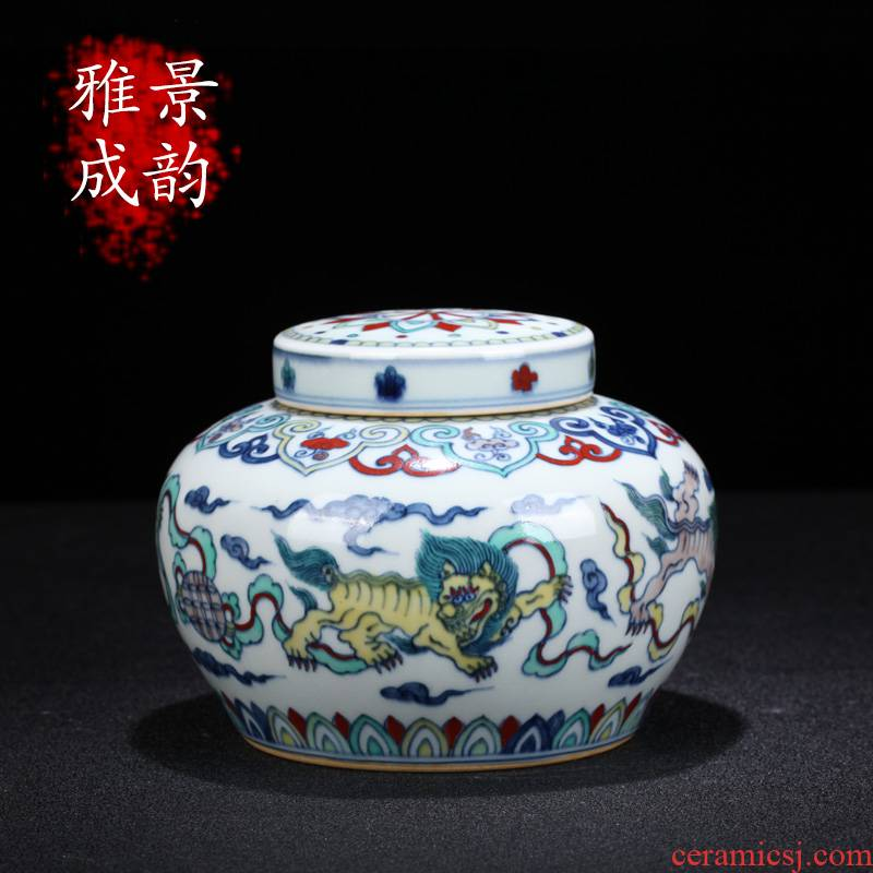 Jingdezhen ceramic new Chinese style maintain color bucket lion dance caddy fixings home sitting room tea tea POTS