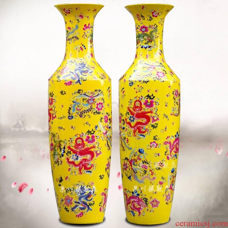 Jingdezhen ceramics powder enamel auspicious longfeng large vases, Chinese style of sitting room furniture study furnishing articles