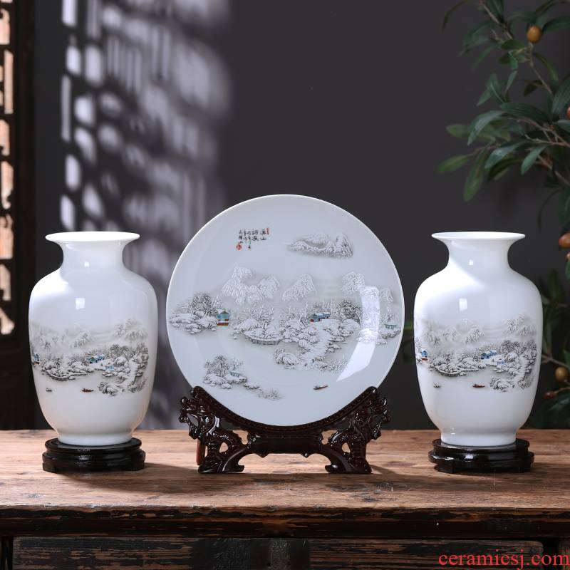 Jingdezhen ceramics floret bottle three - piece furnishing articles of modern Chinese style household living room TV ark adornment arranging flowers