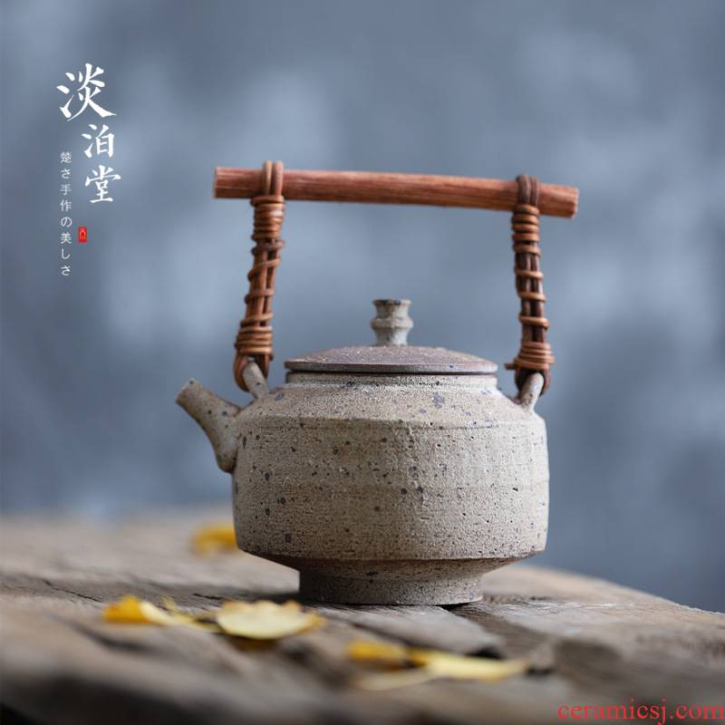Poly real view jingdezhen coarse pottery pot of thick manual firewood big teapot with wooden handle girder ceramic powder bug eat by moth big teapot