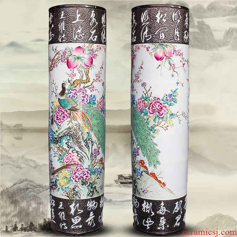 Jingdezhen ceramics hand - carved quiver hand - made landing big vase hotel decoration furnishing articles opening gifts