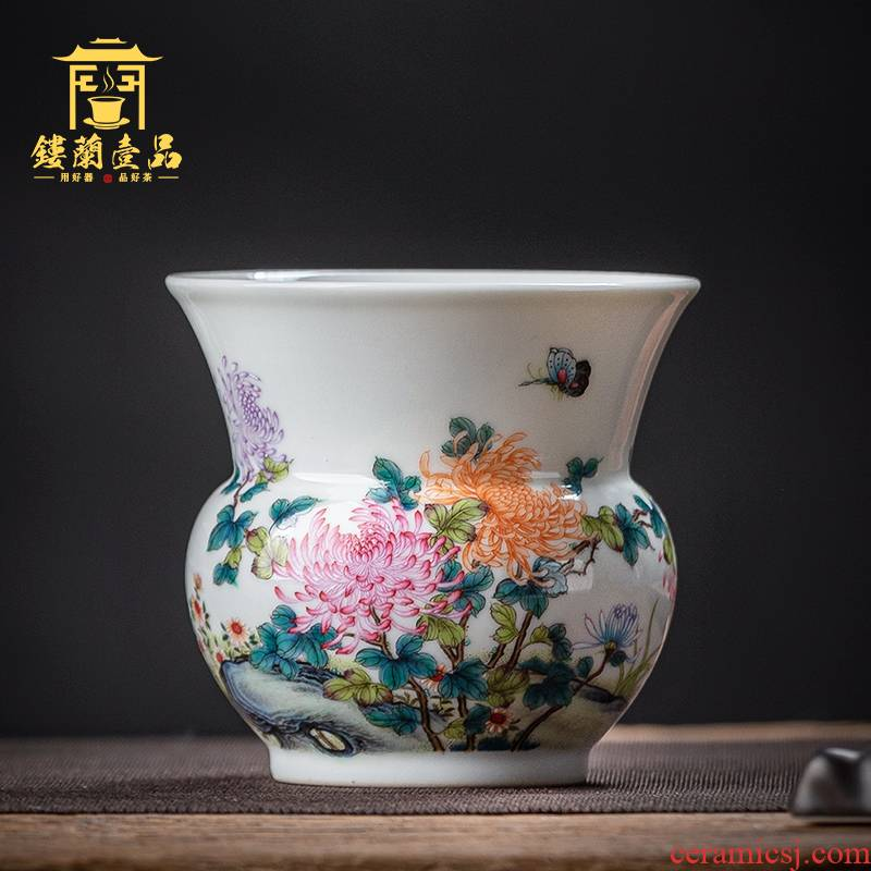 Jingdezhen ceramics all hand - made pastel by tea leaves dou small water built tea tea wash water, after the water fitting