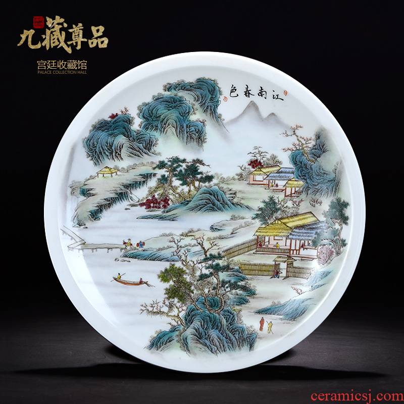 Jingdezhen ceramics decoration hanging dish modern Chinese jiangnan spring sitting room sat dish dish handicraft