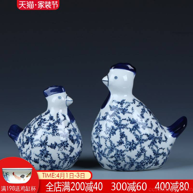 New Chinese style ceramic chicken place feng shui jingdezhen porcelain creative home wine cabinet office decoration