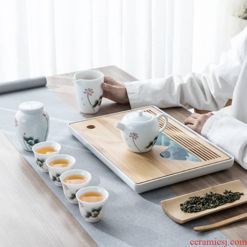 Sweet white porcelain tea set household gift box gift contracted sitting room office kung fu tea tea tea tea tray