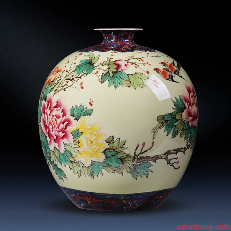 Jingdezhen ceramics hand - made large blooming flowers peony vases furnishing articles of modern Chinese style household, sitting room adornment
