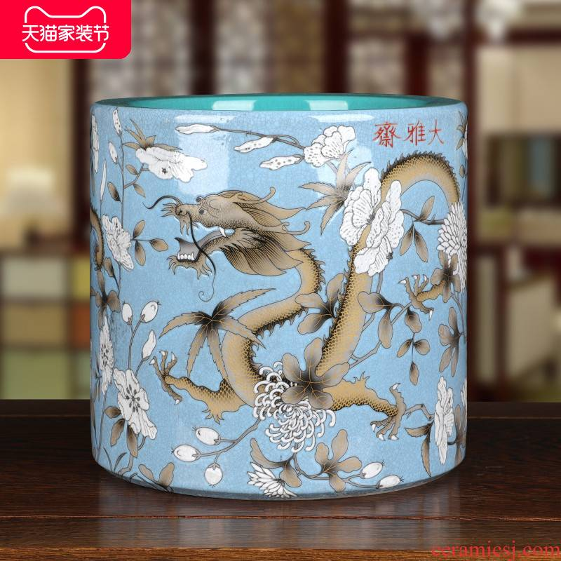 Jingdezhen ceramics by newest yellow, both please double dragon grain bucket color big pen container yard antique folk collection of ornaments
