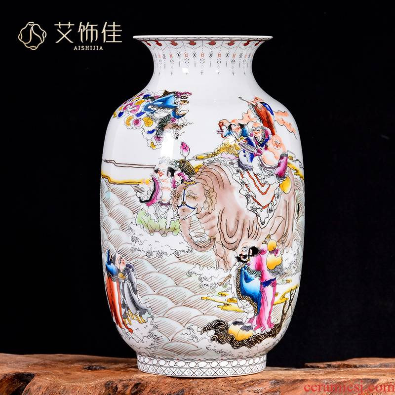 Jingdezhen ceramics vase flower arranging furnishing articles TV ark, hand - made the ensemble of the sitting room porch home decoration