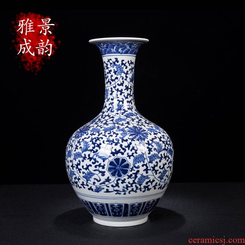 Jingdezhen ceramic new Chinese style household, sitting room put lotus flower appreciation of blue and white porcelain bottle arranging flowers, vases, decorative furnishing articles