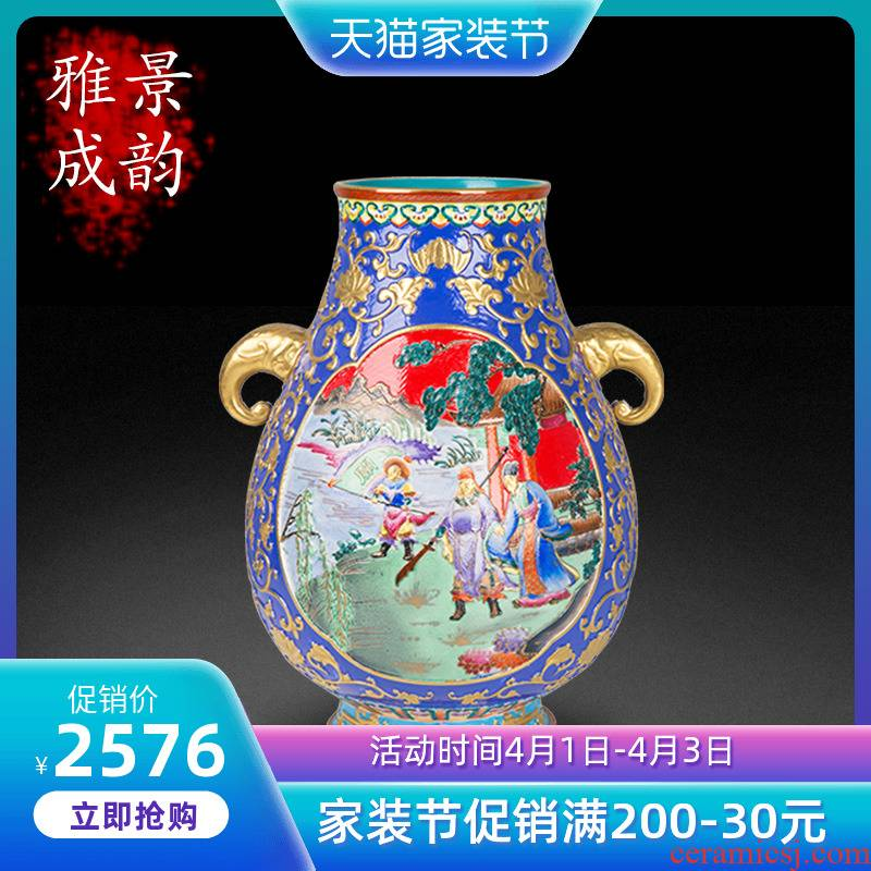 Jingdezhen ceramic antique carved Jin Sanguo double like vase home sitting room porch flower arranging, adornment is placed