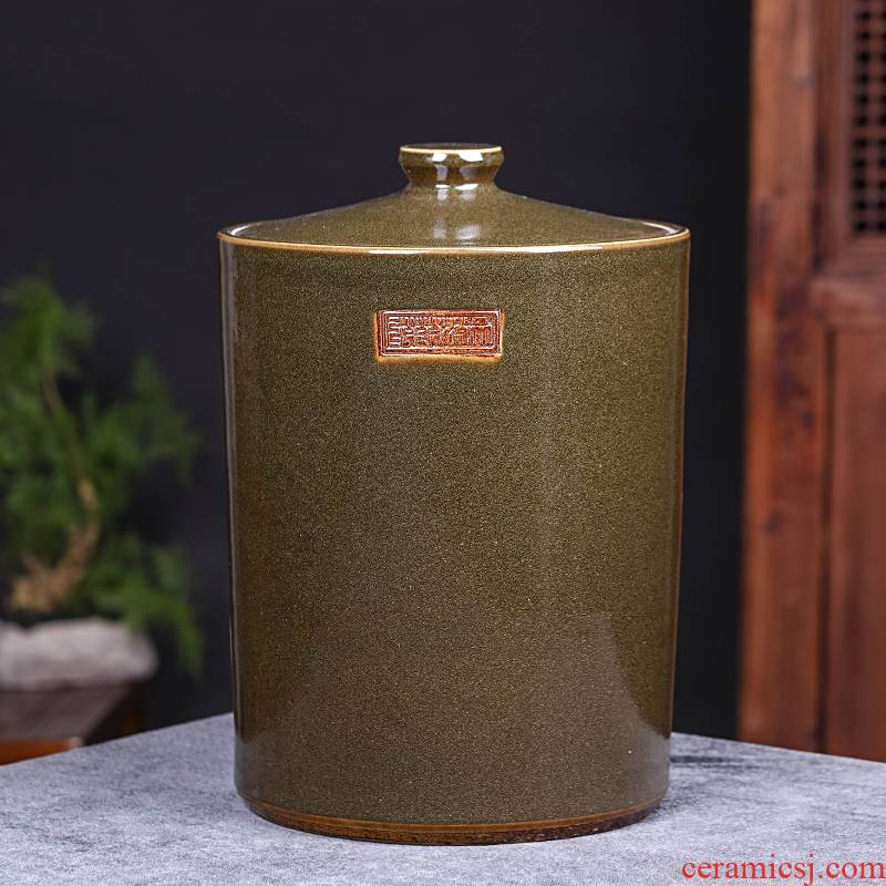 Jingdezhen ceramic barrel with cover home 20 jins 40 kg pack insect - resistant seal oil cylinder tank rice storage tank