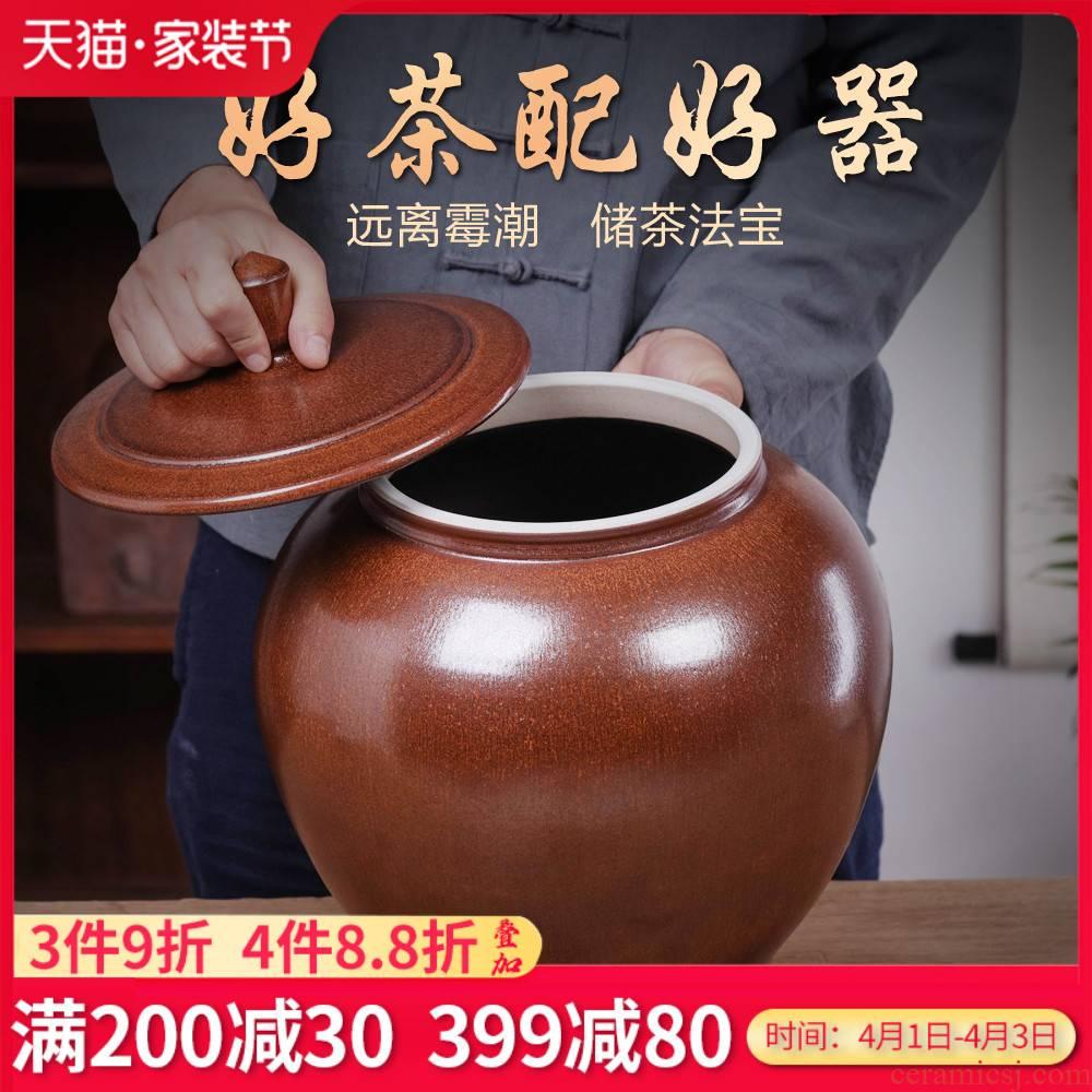 Jingdezhen caddy fixings large ceramic piggy bank pu - erh tea tea urn storage tanks barrel household moistureproof