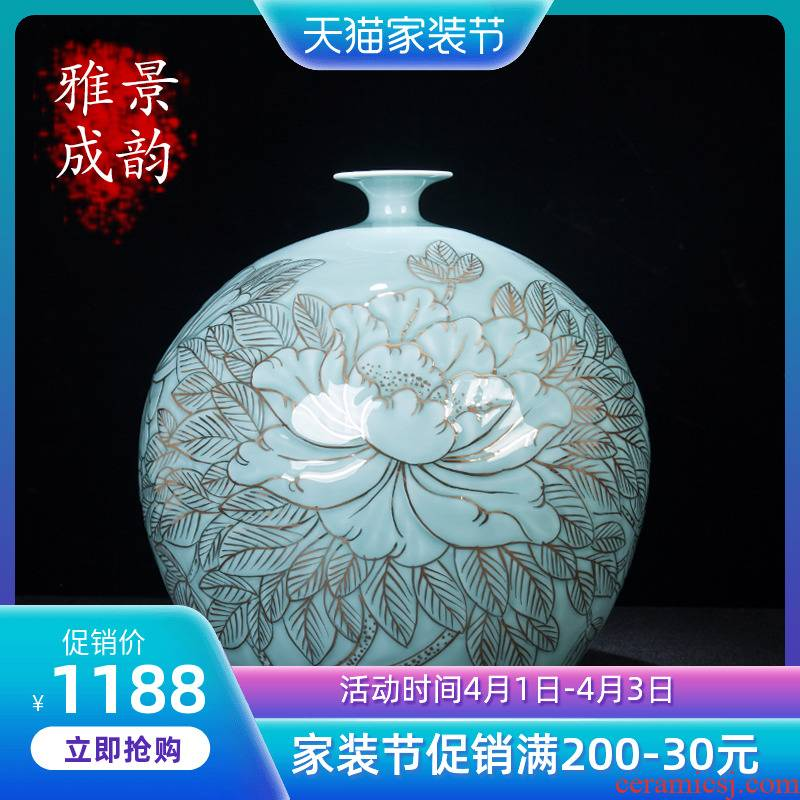 The New Chinese blue and white porcelain of jingdezhen ceramic paint peony vases, home furnishing articles large sitting room porch decoration