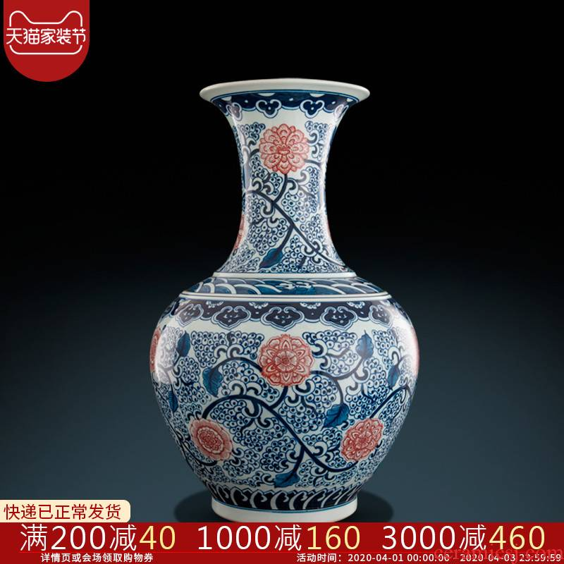 Jingdezhen ceramics hand - made archaize of large blue and white porcelain vase furnishing articles home sitting room adornment handicraft