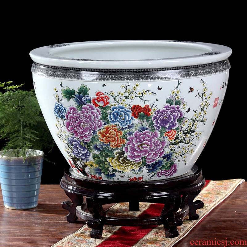 Jingdezhen ceramics large brocade carp goldfish bowl water lily lotus tortoise cylinder cylinder freehand brushwork in traditional Chinese home decoration furnishing articles