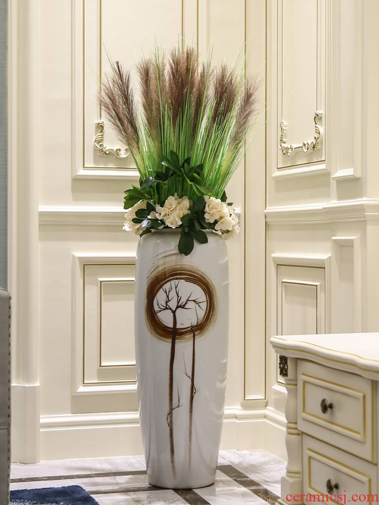 Jingdezhen ceramic vase of large new Chinese style living room porch true flower arranging contracted home furnishing articles adornment