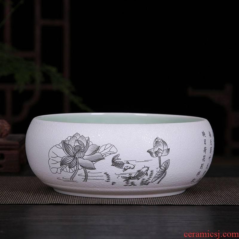 Jingdezhen chinaware lotus goldfish GangPen tortoise cylinder water lily lotus shallow bowl writing brush washer from large - sized refers to flower pot