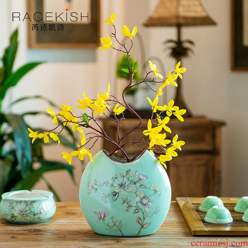 American ceramic vases, new Chinese style pastel flower arranging dried flowers flowers hydroponic flower implement the sitting room porch place decoration