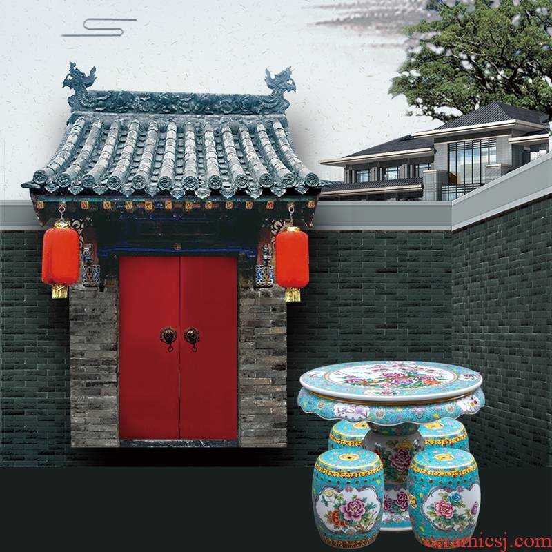 Jingdezhen hand - made pastel antique imitation qianlong year ceramic table and who suit is suing garden villa garden chairs and tables