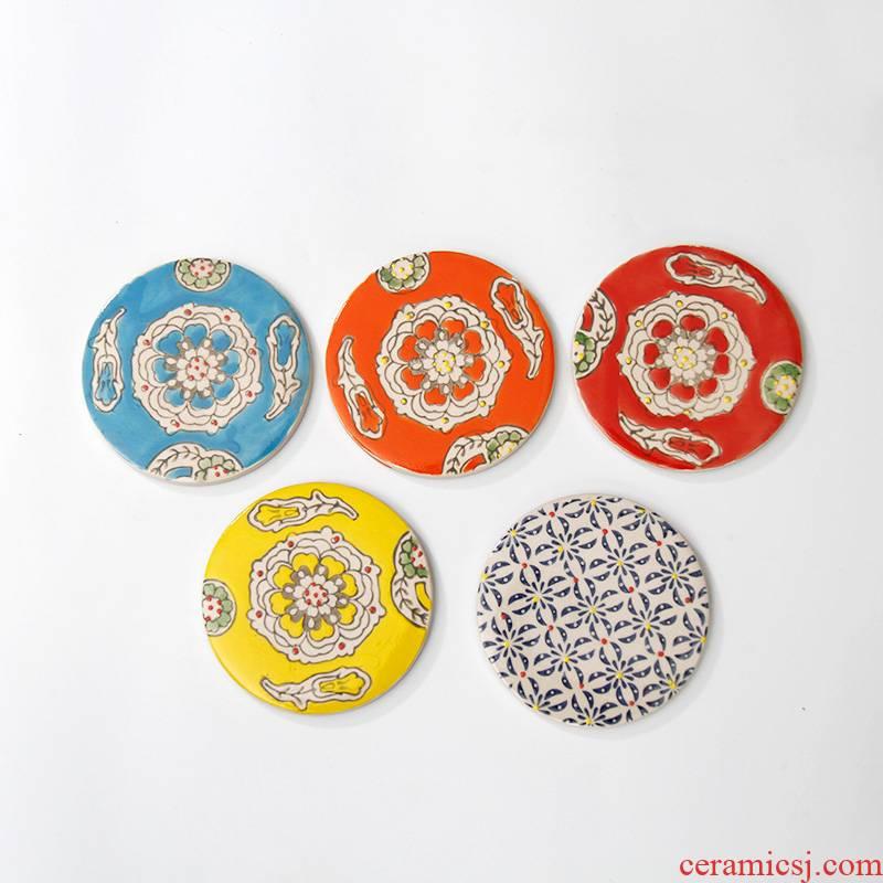 Ceramic cup mat cup holder, circular heat insulation pad saucer kung fu tea accessories pot cup mat cup