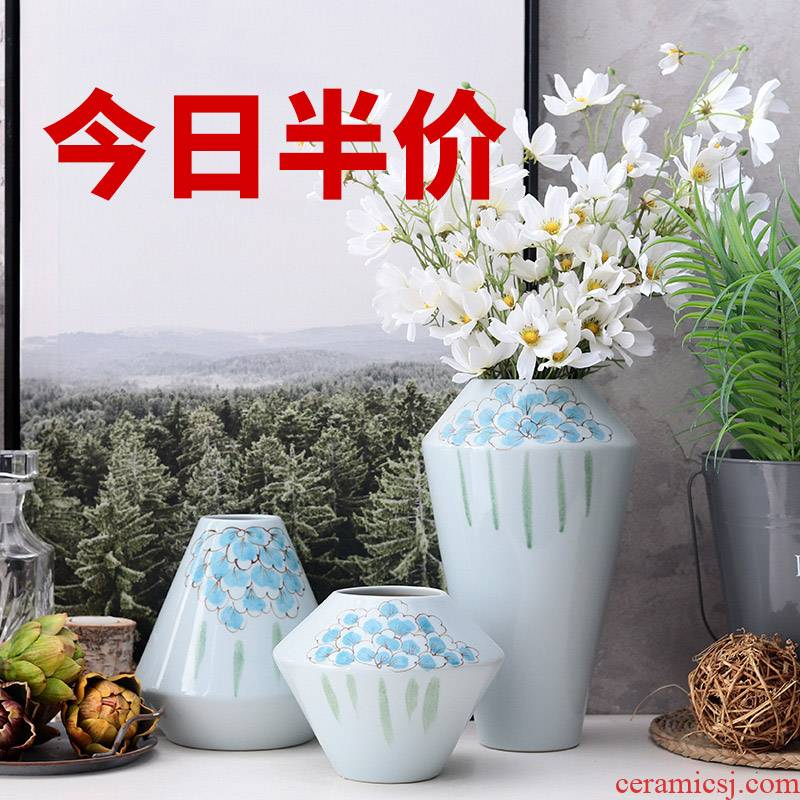I and contracted sitting room of the new Chinese style flower arranging golden vase home furnishing articles table dry flower adornment European ceramic coating