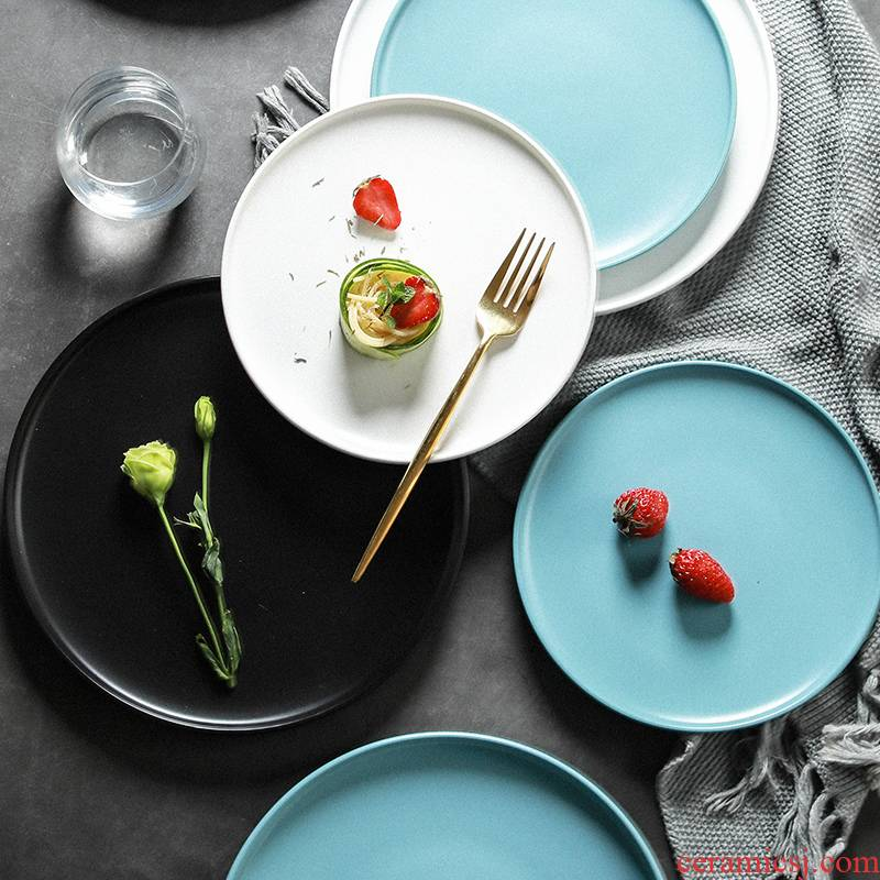 Steak plate dinner plate household food dish food dish tray ceramic tableware breakfast tray was disc pasta dishes, northern Europe