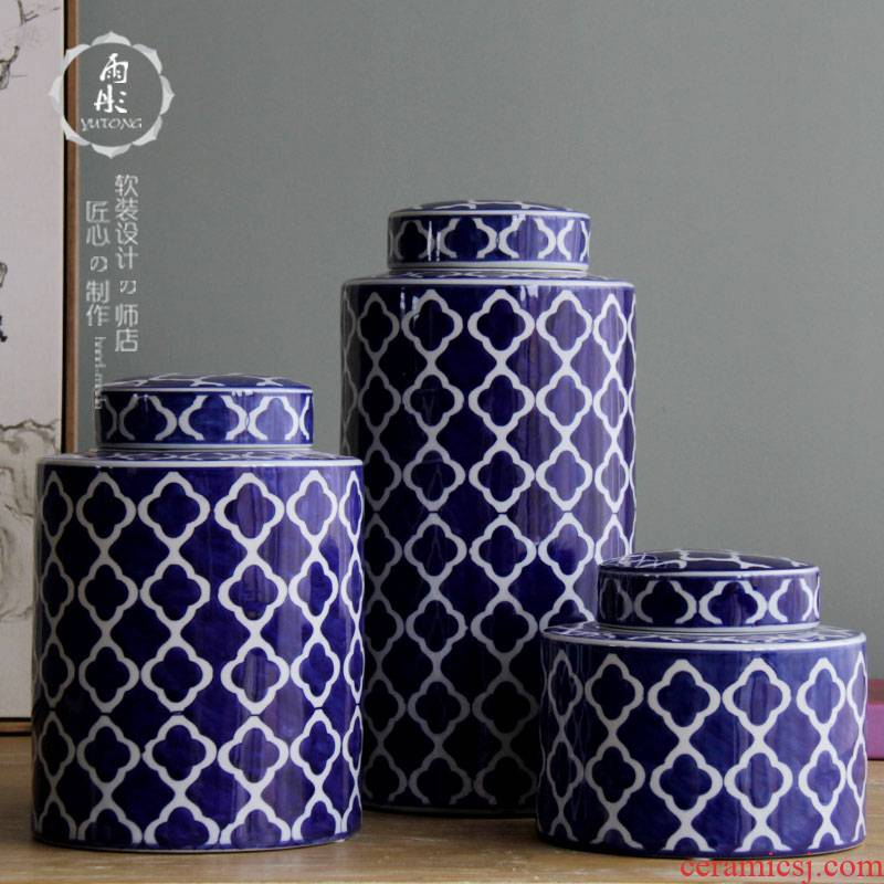 Rain tong home | jingdezhen ceramics classical household creative circle of blue and white porcelain ceramic pot home furnishing articles home outfit