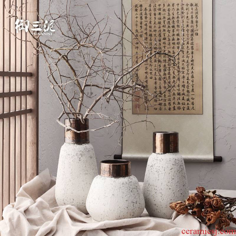 Dried flower adornment furnishing articles coarse light some ceramic pot flower arranging flower implement restoring ancient ways is the key-2 luxury of I and contracted ceramic vases, snow black copper
