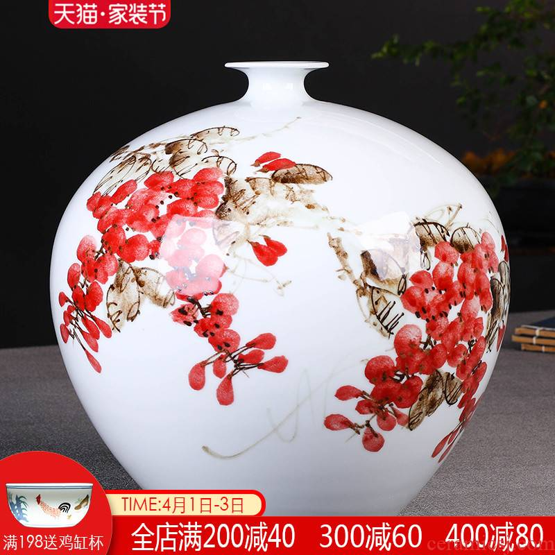 The Master of jingdezhen ceramics hand - made sabingga sukdun dergici jimbi vases, flower arrangement of Chinese style living room porch ark adornment furnishing articles