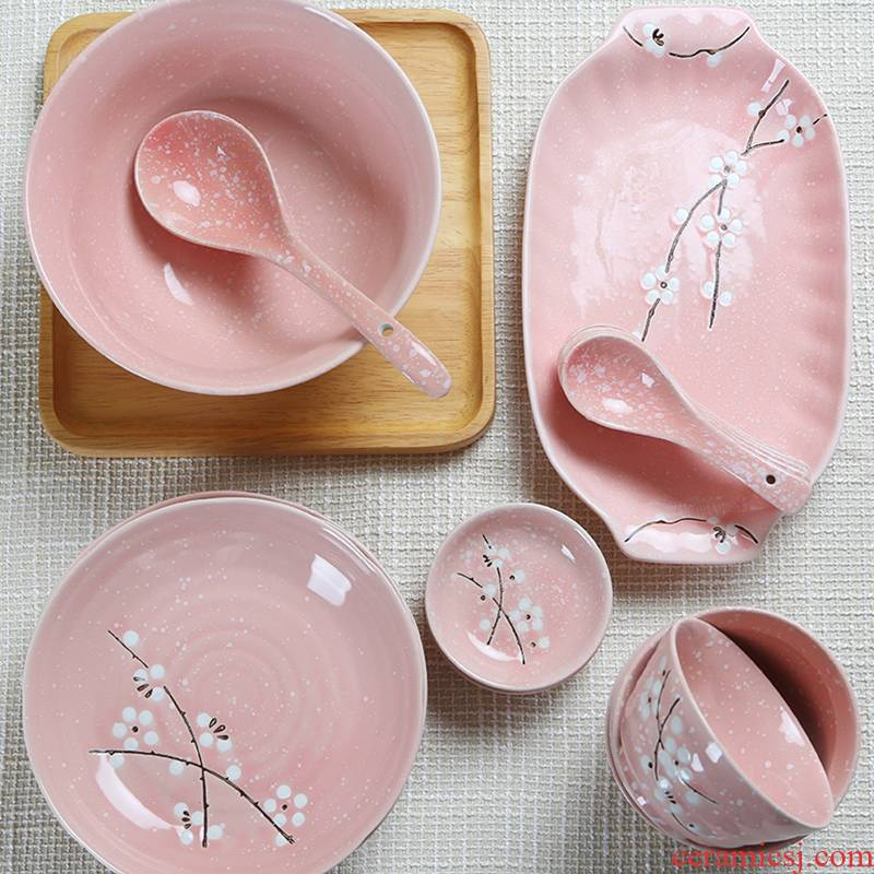Jingdezhen ceramics Japanese cherry blossom put silverware DIY home dishes suit to eat noodles in soup bowl bowl plate combination