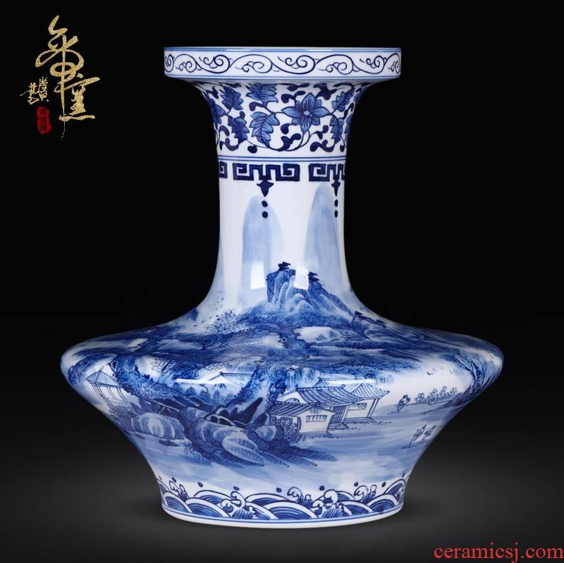 Jingdezhen ceramics antique hand - made landscape flat belly of blue and white porcelain vase household decoration crafts are sitting room