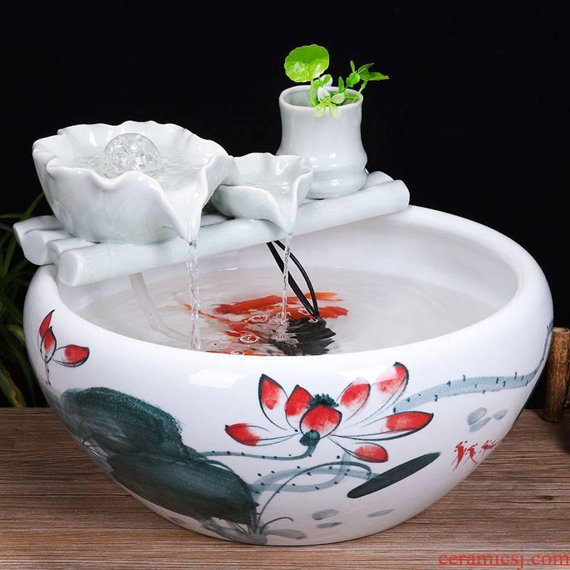 Jingdezhen ceramic tank sitting room desktop fountain water tank household small feng shui aquarium fish bowl