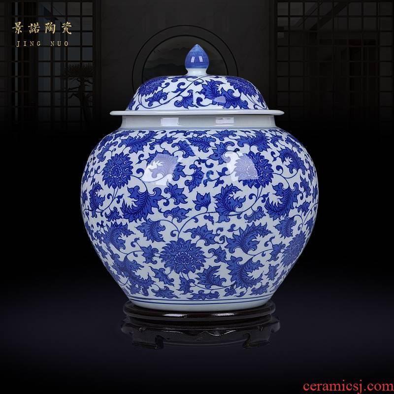 Blue and white porcelain of jingdezhen ceramics bound lotus flower general large jar jar storage tank pickled decoration furnishing articles