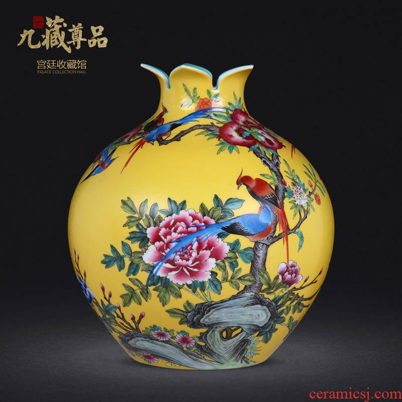 Jingdezhen ceramic vase furnishing articles hand - made archaize pastel colored enamel pick flowers yellow peony flowers and birds pomegranate bottles