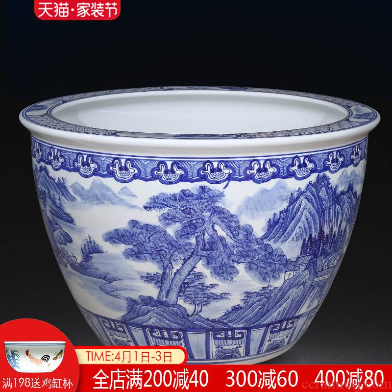 Jingdezhen ceramics hand - made scenery aquarium fish farming water lily of blue and white porcelain basin sitting room ground to heavy household size