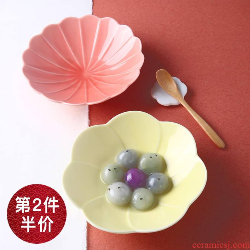 Japanese cherry blossom put plate feng Japan imports household 6 - inch cake dessert plate creative ceramic snack plate