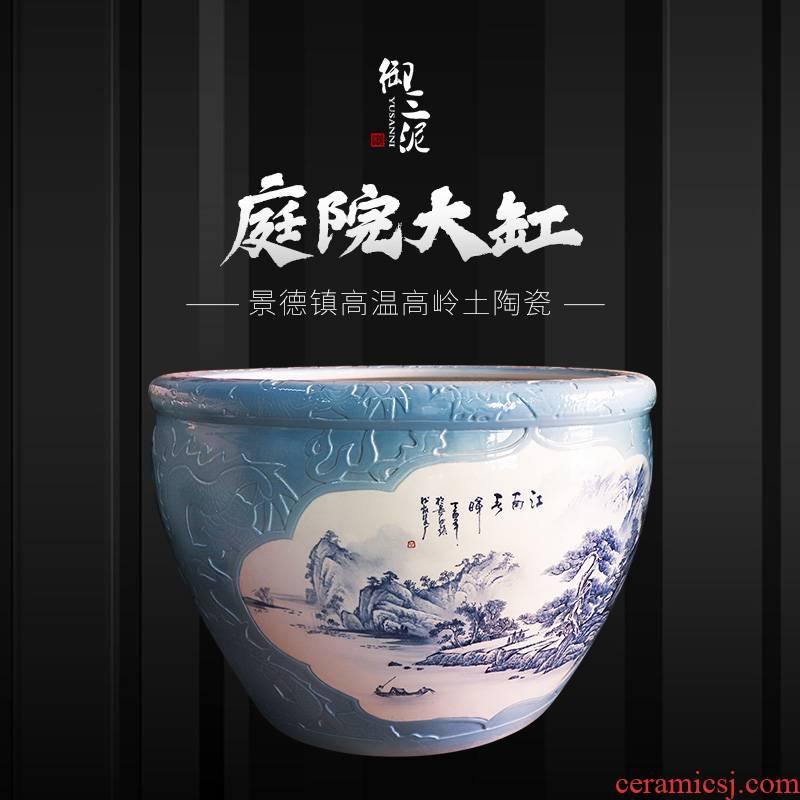 Heavy jingdezhen ceramic cylinder large aquarium lotus pond lily Chinese blue and white landscape ceramic cylinder cornucopia sitting room