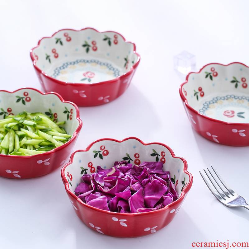 Ceramic bowl with 6 inches rainbow such use creative small salad bowl Japanese under the glaze color, lovely eat bowl hand - made tableware