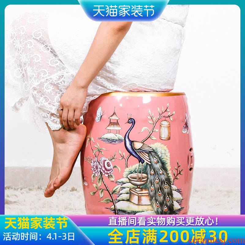 Jingdezhen American country classical toilet who who in hand - made shoes flower ceramic drum who furniture and home furnishing articles