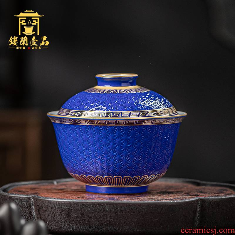 Jingdezhen ceramics old blue glaze see hand - cut tureen kung fu tea bowl suit household single cup by hand
