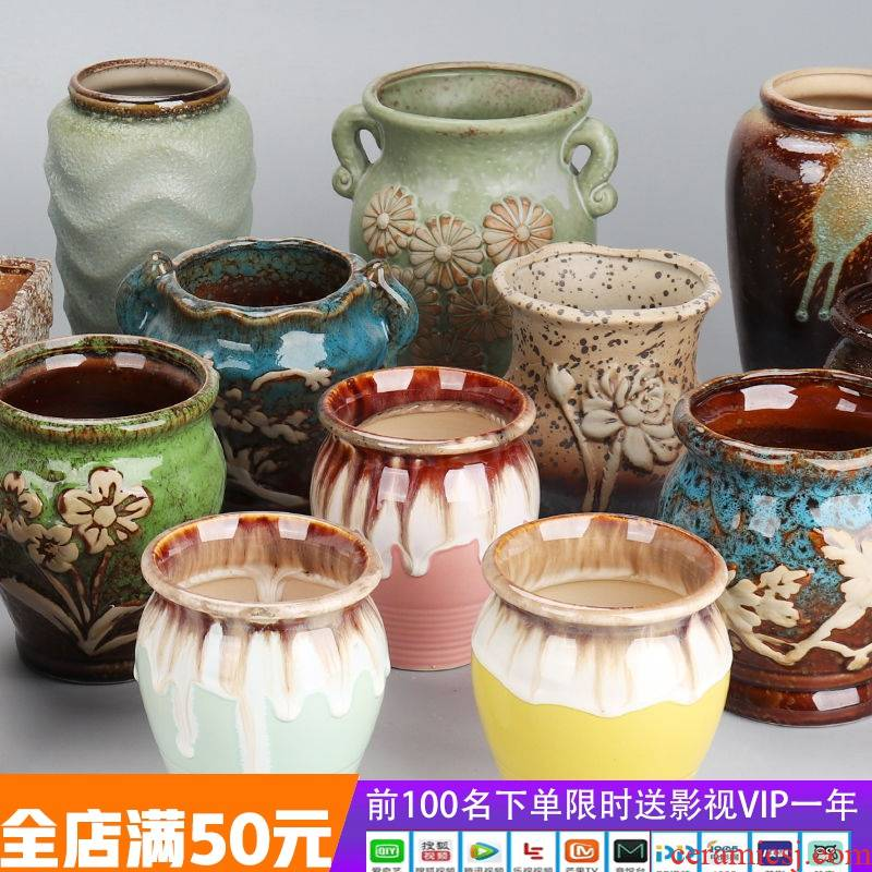 Old running the fleshy flower pot in ceramic package mail special offer a clearance of large diameter more coarse pottery breathable much meat the plants flower pot